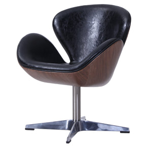 New Pacific Direct 6300042-301 Clayton PU Leather Swivel Chair Distressed Black