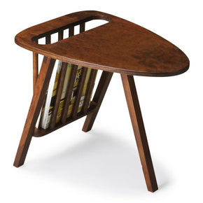 Lowery Modern Triangular Magazine Table Dark Brown Rack