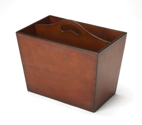 Tomlinson Transitional Rectangular Magazine Bin Dark Brown Rack
