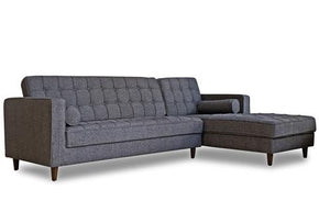 Westbury Mid Century Modern Sectional Sofa Charcoal Gray, Right Facing
