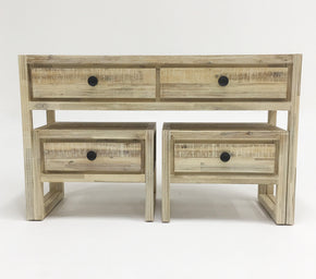 Vig Furniture VGWHMANDY-WHT Modrest Mandy Modern White Washed Acacia Console & End Table Set
