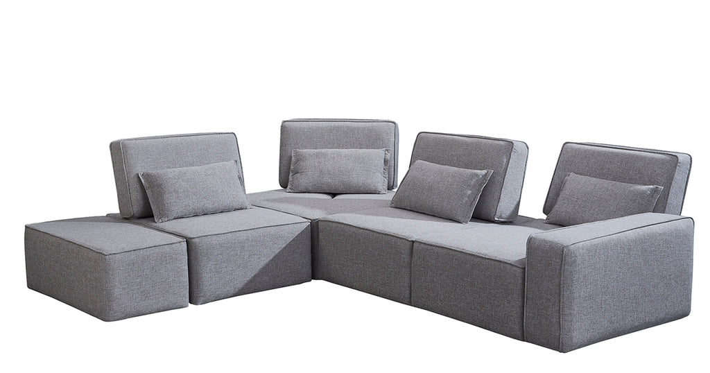 Wondrous Divani Casa Chapel Modern Light Grey Fabric Sectional Sofa W Ottoman Gmtry Best Dining Table And Chair Ideas Images Gmtryco