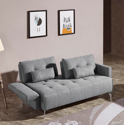 Vig Furniture VGMB-1802-GRY Divani Casa Alcoa Modern Contemporary Grey Tufted Fabric Sofa w/ Adjustable Backrest and Movable Armrests