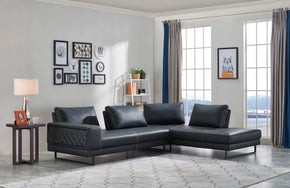 Vig Furniture VGMB-1807-BLK Divani Casa Signal Classic Transitional Contemporary Black Leather Sectional Sofa w/ Adjustable Backrests