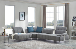 Vig Furniture VGMB-1808-GRY Divani Casa Nash Modern Contemporary Grey Tufted Fabric Sectional Sofa w/ Adjustable Backrest