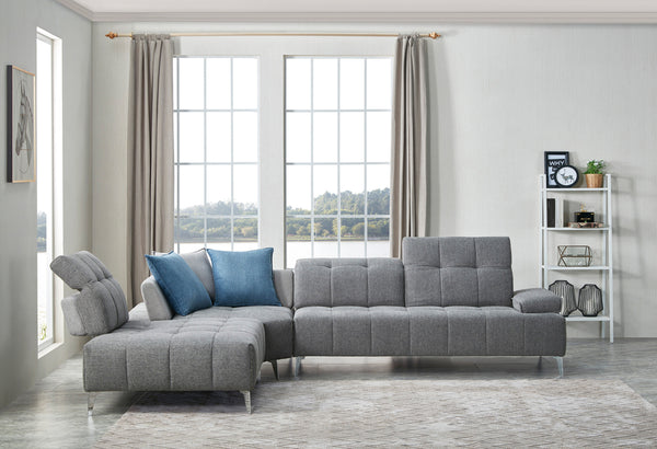 Vig Furniture VGMB-1808-GRY Divani Casa Nash Modern Contemporary Grey  Tufted Fabric Sectional Sofa w/ Adjustable Backrest sale at Contemporary ...
