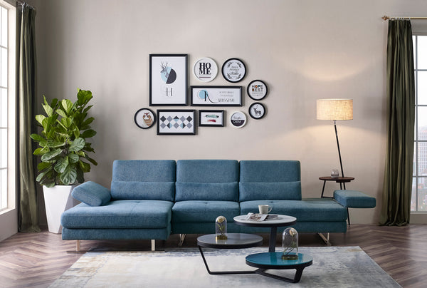 Divani Casa Denton Modern Blue Fabric Sectional Sofa