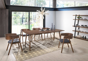 Vig Furniture VGMAMI-5157-SET Modrest Oritz Mid-Century Modern Walnut Dining Set