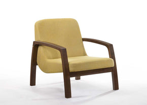 Vig Furniture VGMAMI-854-YEL Modrest Bronson Mid-Century Modern Yellow & Walnut Accent Chair