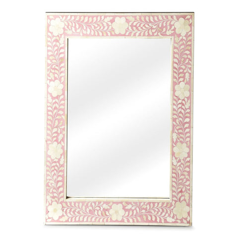 Vivienne Traditional Rectangular Bone Inlay Wall Mirror Pink