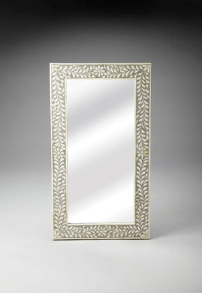 Traditional Rectangular Bone Inlay Wall Mirror Gray