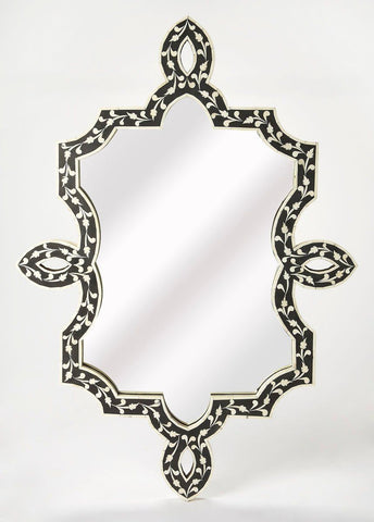 Haifa Transitional Free Form Bone Inlay Wall Mirror Black
