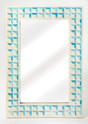 Serena Transitional Rectangular Bone Inlay Wall Mirror Blue