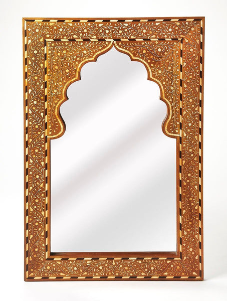 Chevrier Traditional Rectangular Bone Inlay Wall Mirror Medium Brown