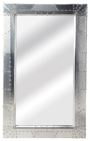 Midway Industrial Modern Rectangular Wall Mirror Silver