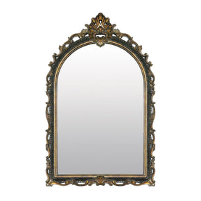 Arched Acanthus Mirror Distressed Black,gold