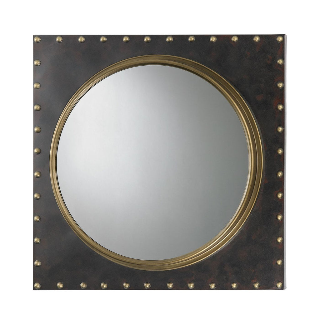 Metal Frame Rivet Porthole Mirror Antique Gold,bronze