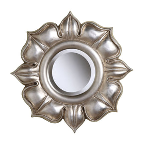 Lotus In Bright Silver Leaf Mirror