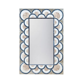 Art Deco Capiz Shell And Glass Mosaic Mirror Natural Capiz,navy Blue