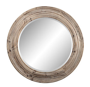 Porthole Mirror Brown Fir Wood