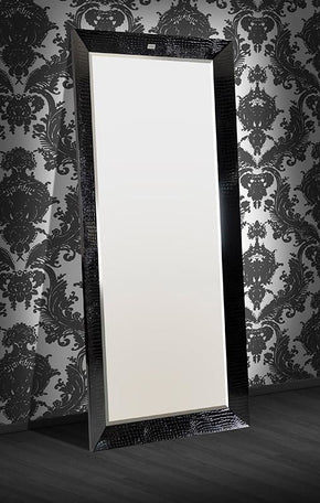 A&x Regal - Modern Black Crocodile Lacquer Mirror