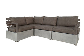 Vig Furniture VGLBMODUSET Renava Garza Outdoor Concrete & Teak Modular Sectional