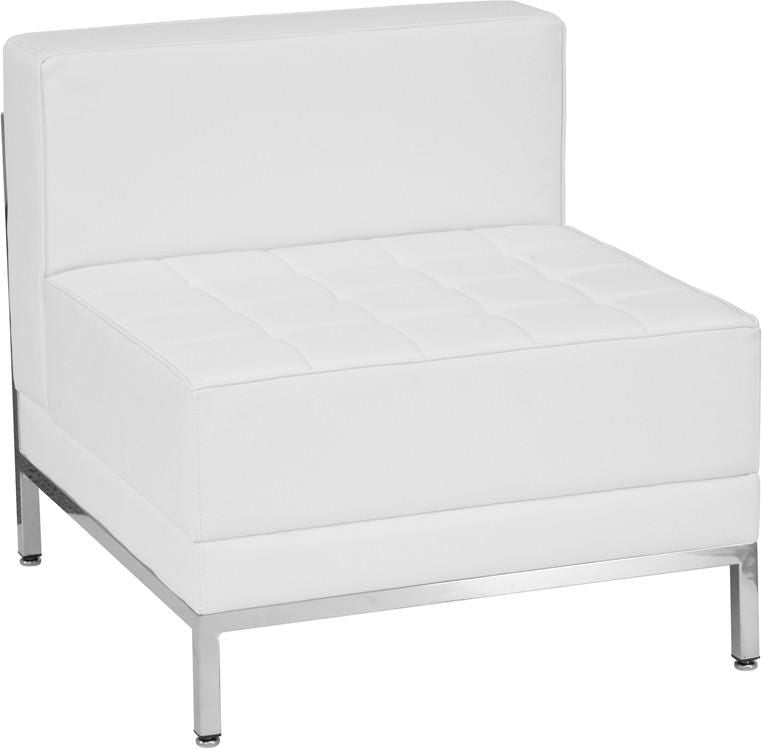 Imagination Series Contemporary White Leather Middle Chair Modular Sofa