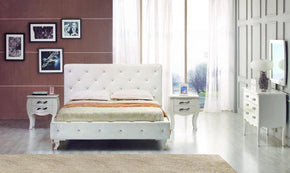 Vig Furniture VGJYMONTECARLO-WHT-TC Modrest Monte Carlo - White Leatherette Modern Twin Bed with Crystals