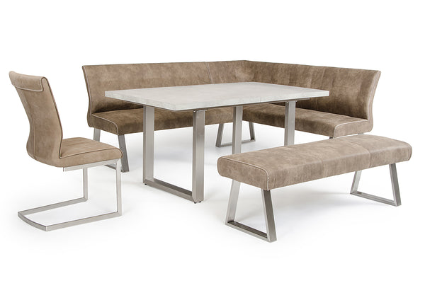 Modrest Zane Modern Brown Fabric Dining Bench