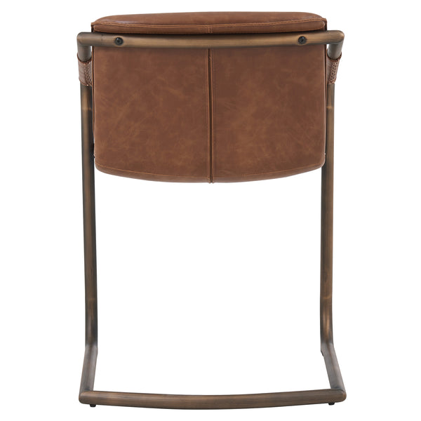 Indy PU Side Chair Rubbed Gold Frame, Antique Cigar Brown