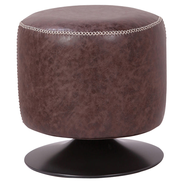 Gaia PU Leather Round Ottoman Vintage Coffee Brown