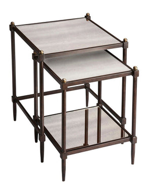 Peninsula Transitional Rectangular Nesting Tables Gray Table