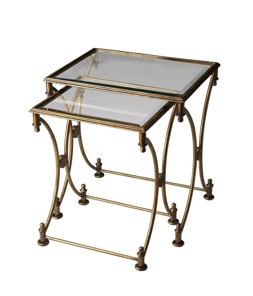 Beverly Transitional Rectangular Nesting Tables Gold Table