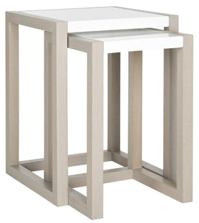 Egan Lacquer Stacking Table White & Grey Nesting