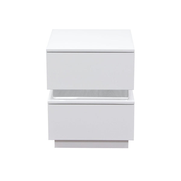 Elle 2-Drawer Accent Table In High Gloss White Nightstand