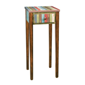 Ribbon Night Stand Wood Tone W/red,green,blue & White Finish Nightstand