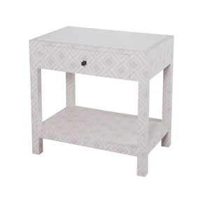 Kent Fabric Wrapped Bedside Table Dove White,gray Nightstand