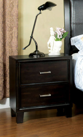 Delao Contemporary 2-Drawer Nightstand In Espresso