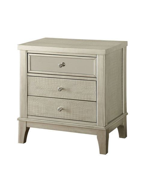 Steinman Contemporary 3-Drawer Crocodile Nightstand In Silver