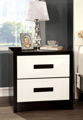 Burlings Modern 2-Drawer Nightstand In Black And White