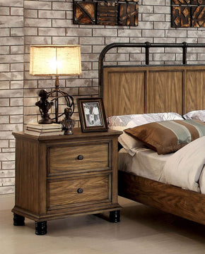 Lesko Industrial 2-Drawer Nightstand In Dark Oak