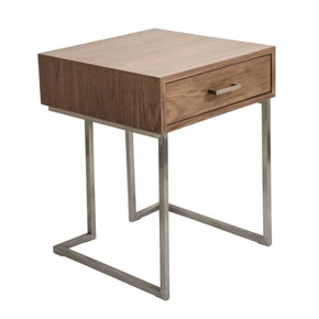 Roman End Table / Night Stand Walnut Wood Stainless Steel Silver Frame Nightstand