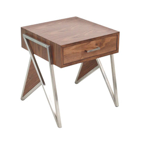 Tetra End Table / Night Stand Walnut Wood Stainless Steel Silver Frame Nightstand
