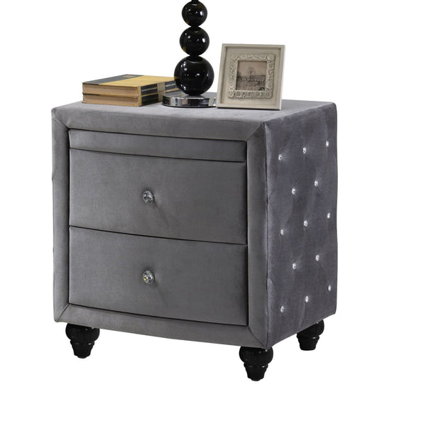 Hudson Grey Velvet Night Stand Nightstand
