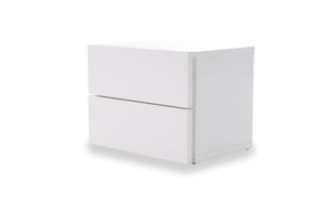 Float Night Stand W/ 2 Drawers (Assembled) Pure White Nightstand