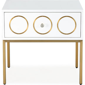 Ella Side Table / Nightstand Hollywood Glam White And Gold