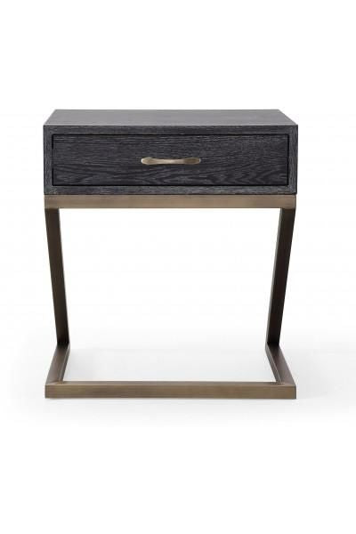 Tov Furniture TOVL Mason Side Table Nightstand Black With - Brushed gold side table