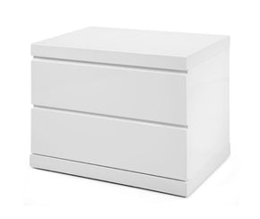 Anna Night Stand Small High Gloss White Nightstand