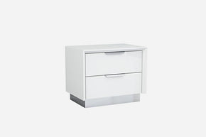 Navi Night Stand High Gloss White With Stainless Steel Trim Nightstand