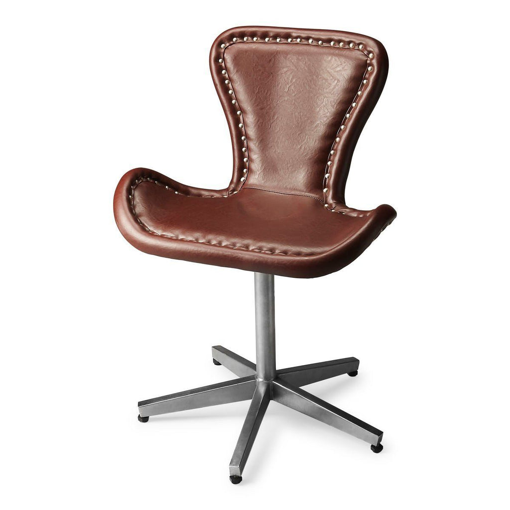 Midway Modern Accent Chair Rich Brown Leather Office ...